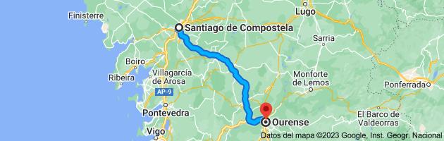 Mapa de Santiago de Compostela, La Coruña a Orense, Ourense