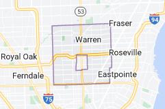 Map of Warren, Michigan