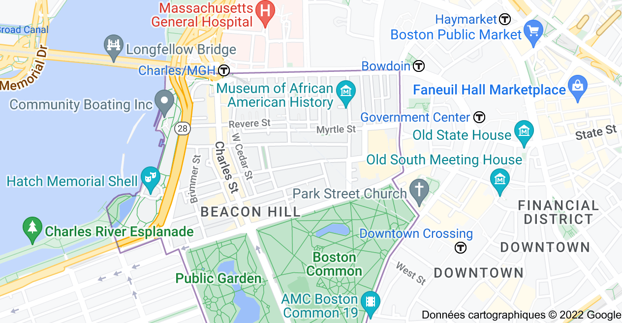 Beacon Hill, Boston, Massachusetts, États-Unis : carte