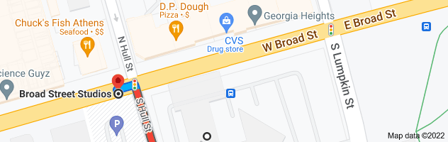 Map from Holiday Inn Athens-University Area, 197 E Broad St, Athens, GA 30601 to Broad Street Studios, Athens, GA 30605