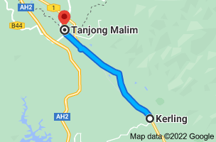 Map from Kerling, Selangor, Malaysia to Tanjong Malim, Perak, Malaysia