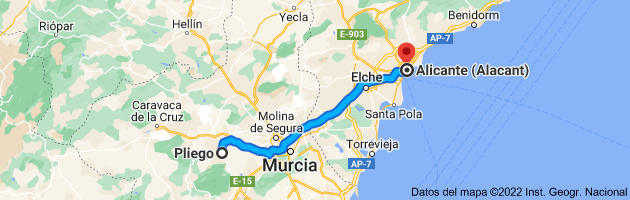Mapa de Pliego, 30176, Murcia a Alicante (Alacant), Alicante