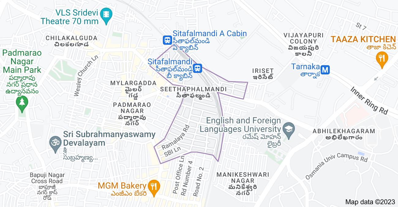 Map of Seethaphalmandi, Padmarao Nagar, Hyderabad, Telangana, India