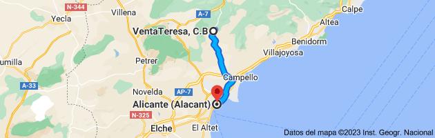 Mapa de VentaTeresa, Puerto de la Carrasqueta - CV 800 (Km 22'5, 03100 Alicante a Alicante (Alacant), Alicante