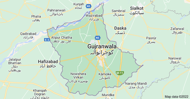 Map of Gujranwala, Punjab, Pakistan