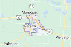 Map of Warsaw, Indiana