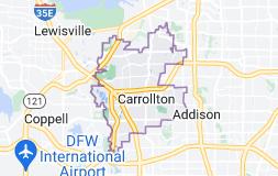 Map of Carrollton, Texas