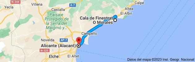 Mapa de Cala de Finestrat O Morales, 03509 a Alicante