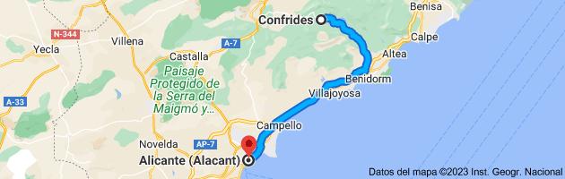 Mapa de Confrides, 03517, Alicante a Alicante