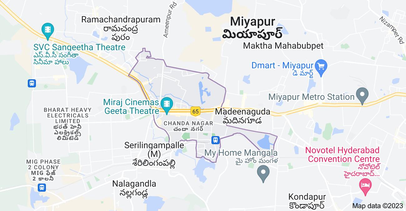 Map of Chanda Nagar, Hyderabad, Telangana, India