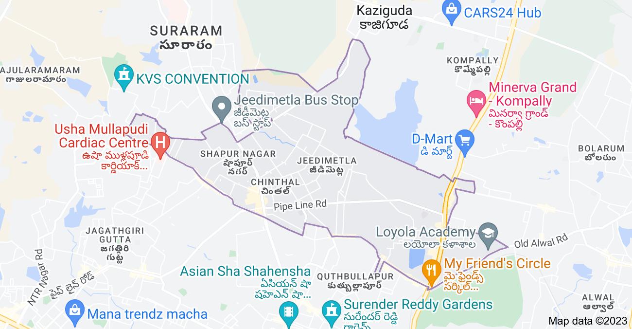 Map of Jeedimetla, Hyderabad, Telangana, India