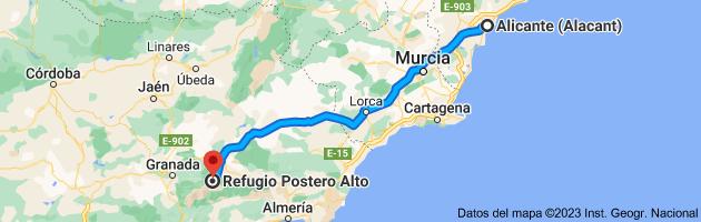 Mapa de Alicante (Alacant), Alicante a Refugio Postero Alto, Parque Nacional de Sierra Nevada, 18518 Jerez del Marquesado, Granada