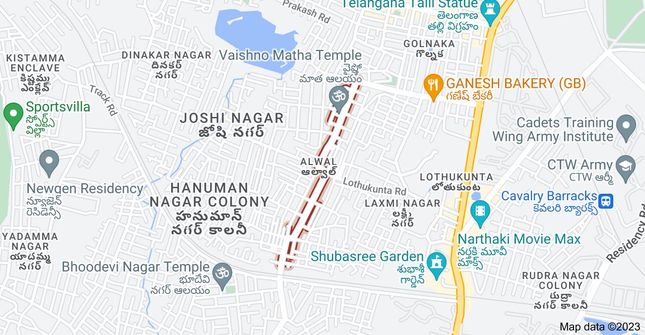 Map of Venkatapuram Rd, Alwal, Secunderabad, Telangana 500015, India