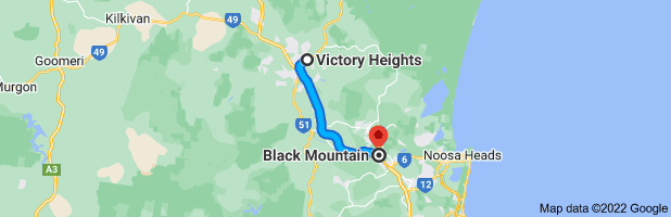 Map from Gympie Pyramid, 63 Gympie Connection Rd, Victory Heights QLD 4570, Australia to Black Mountain, Queensland 4563, Australia