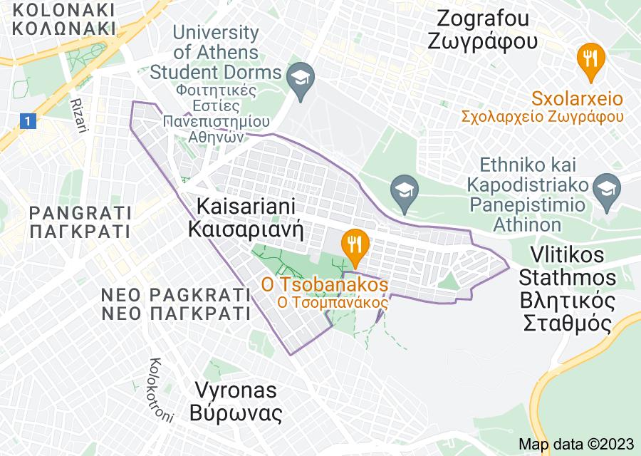 Location of Kaisariani