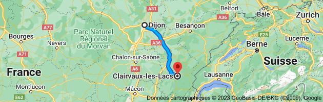 Carte depuis Dijon, 21000 pour Clairvaux-les-Lacs, 39130