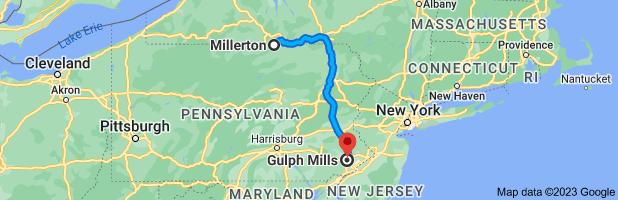 Map from                         Millerton, Pennsylvania 16936 to Gulph Mills,                         Pennsylvania 19406