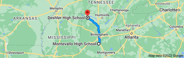 Map from Montevallo High School, 980 Oak St, Montevallo, AL 35115 to Deshler High School, 200 N Commons East, Tuscumbia, AL 35674, Tuscumbia, AL 35674