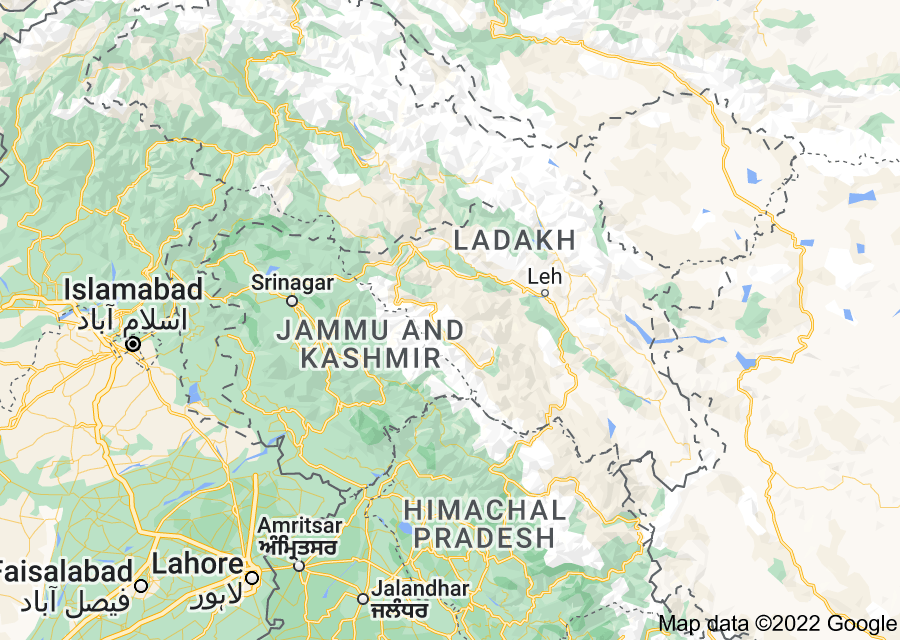 Location of Jammu and Kashmir