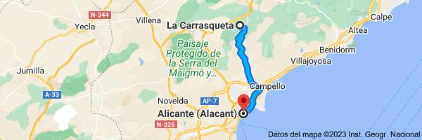 Mapa de La Carrasqueta, 03440, Alicante a Alicante