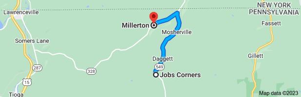 Map from Jobs Corners, Pennsylvania 16936 to                     Millerton, Pennsylvania 16936