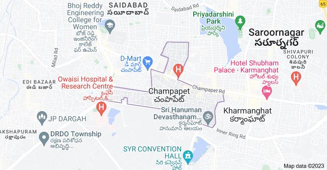 Map of Champapet, Telangana, India