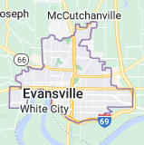 Map of Evansville, Indiana