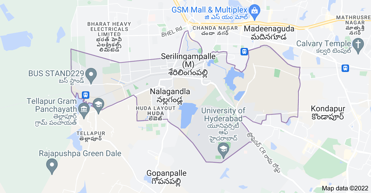 Map of Serilingampalle (M), Telangana, India