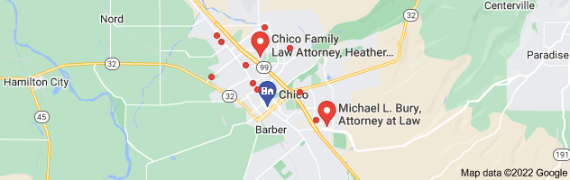 Map of chico family law attorney