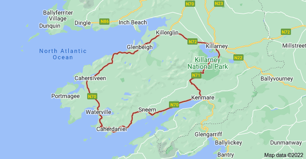 Map of Ring of Kerry, Killarney, Co. Kerry, Ireland