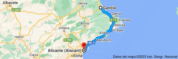 Mapa de Gandía, Valencia a Alicante