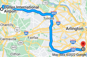 Map from Dulles International Airport (IAD), 1 Saarinen Cir, Dulles, VA 20166 to The Westin Alexandria, 400 Courthouse Square, Alexandria, VA 22314