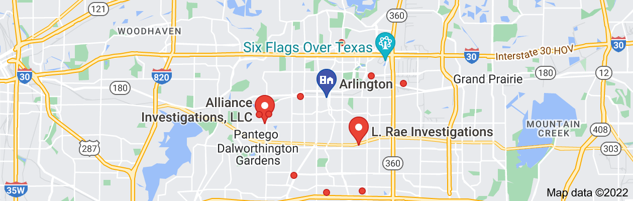 Map of private investigator Arlington, TX
