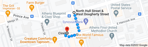 Map from W Dougherty St, Athens, GA 30601 to Cine, 234 W Hancock Ave, Athens, GA 30601