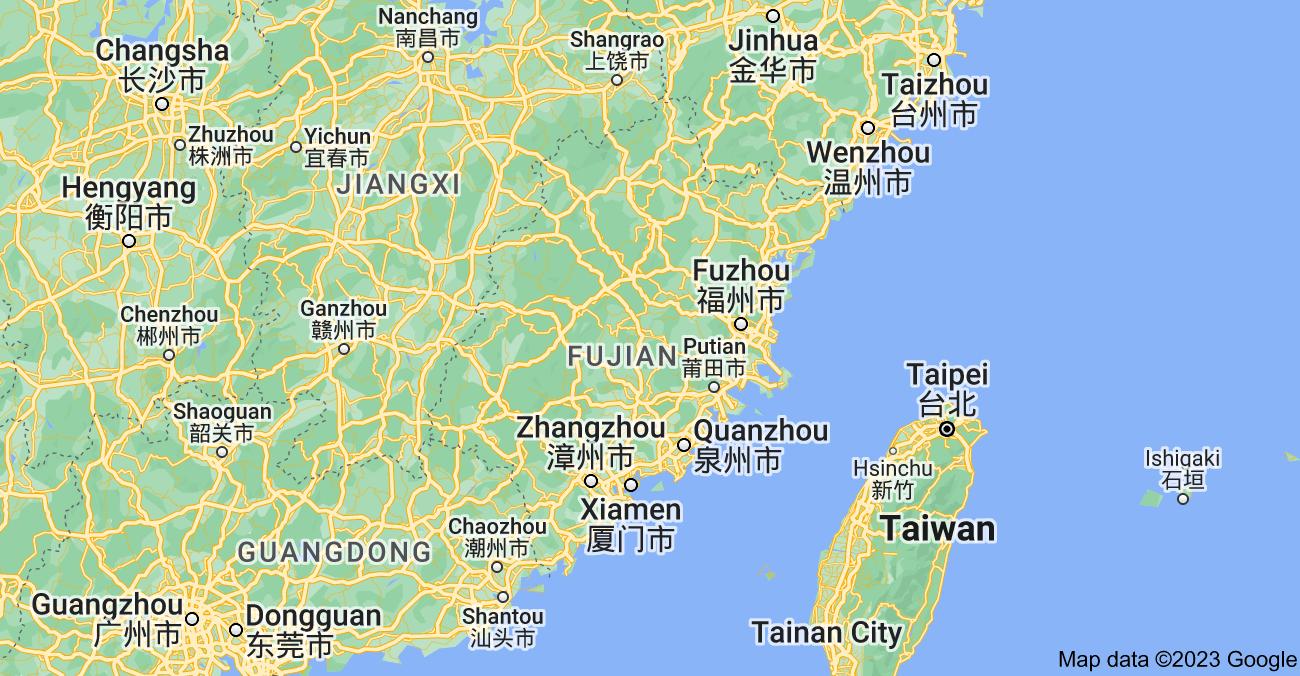 Map of Fujian, China