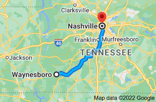 Map from Waynesboro, Tennessee to Nashville, Tennessee