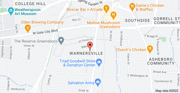 Map of 1210 S Eugene St, Greensboro, NC 27406