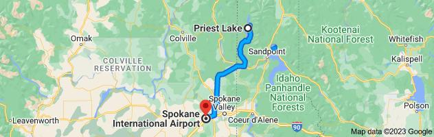 Map from Priest Lake to Spokane International Airport (GEG), 9000 W Airport Dr, Spokane, WA 99224