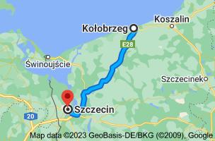 Map from Kolobrzeg, Poland to Szczecin, Poland