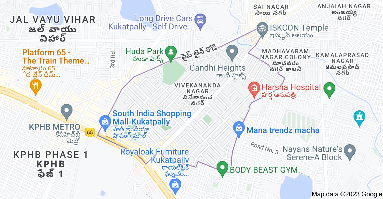 Map of Vivekananda Nagar, Kukatpally, Hyderabad, Telangana 500072, India