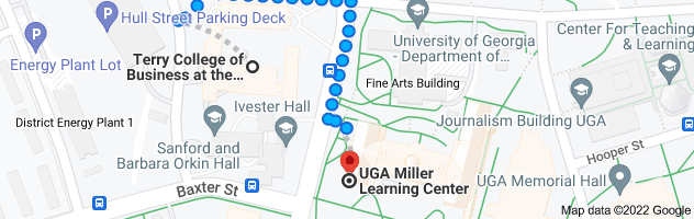 Map from Correll Hall, Athens, GA 30605 to UGA Miller Learning Center, 48 Baxter St, Athens, GA 30602