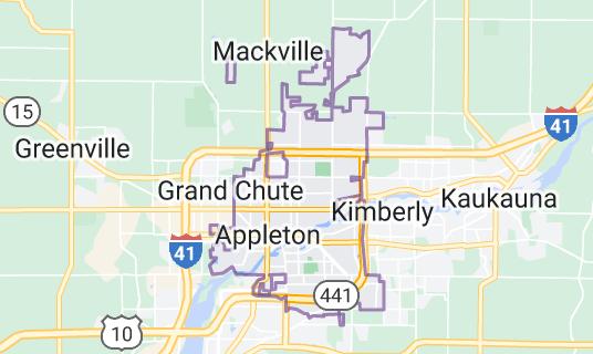 Map of Appleton, Wisconsin