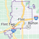 Map of Flint, Michigan