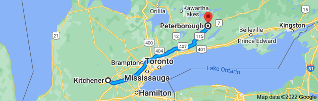 Map from Kitchener, Ontario to Peterborough, Ontario