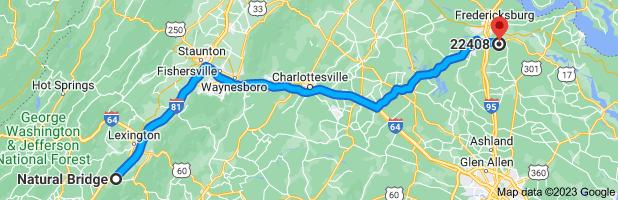 Map from Natural Bridge, Virginia 24578 to Fredericksburg, VA 22408