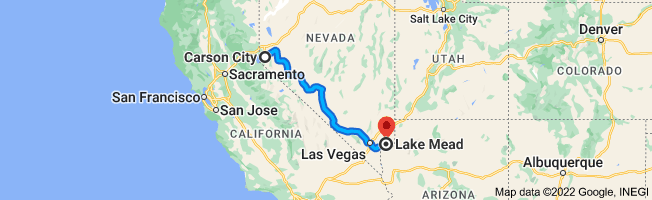 Map from Carson City, Nevada to Lake Mead