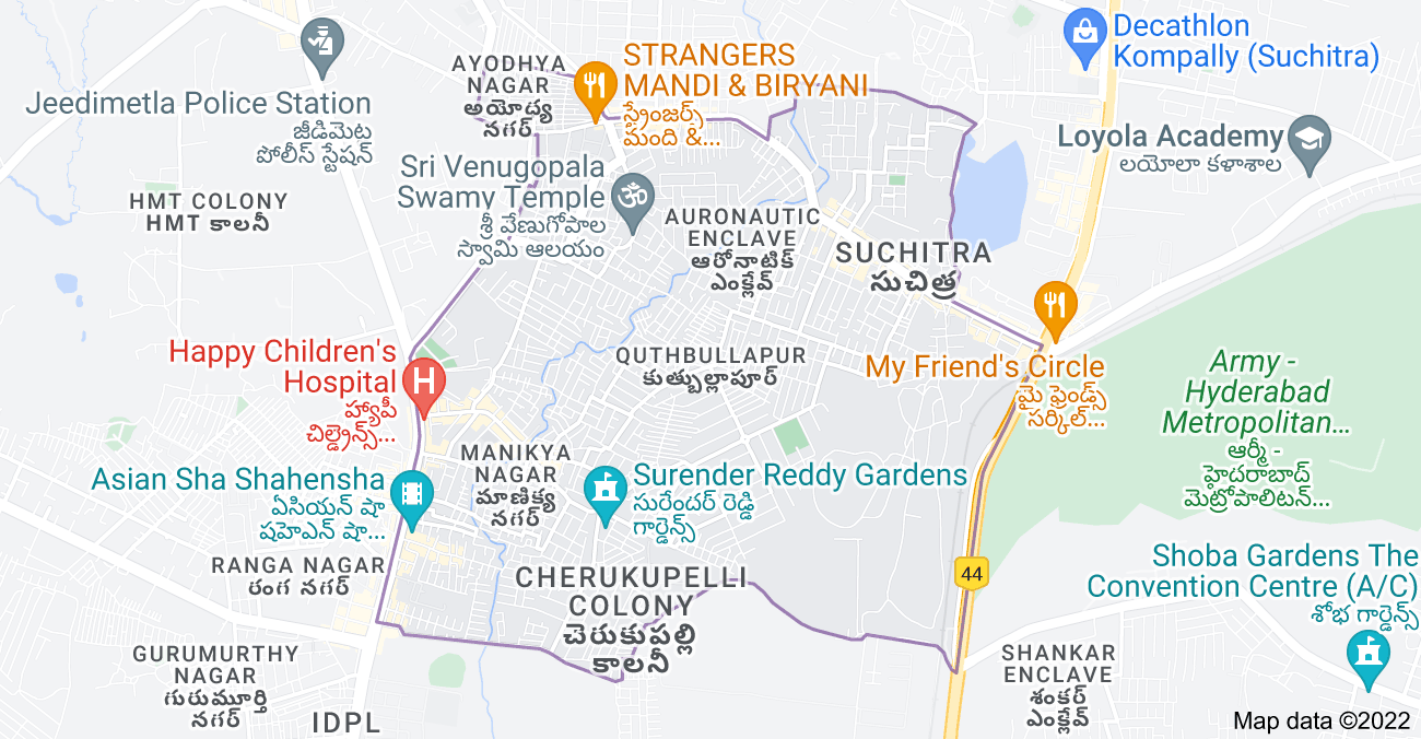 Map of Quthbullapur, Hyderabad, Telangana, India
