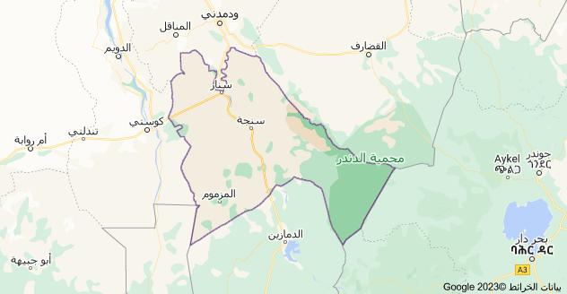 خريطة ولاية سنار، السودان