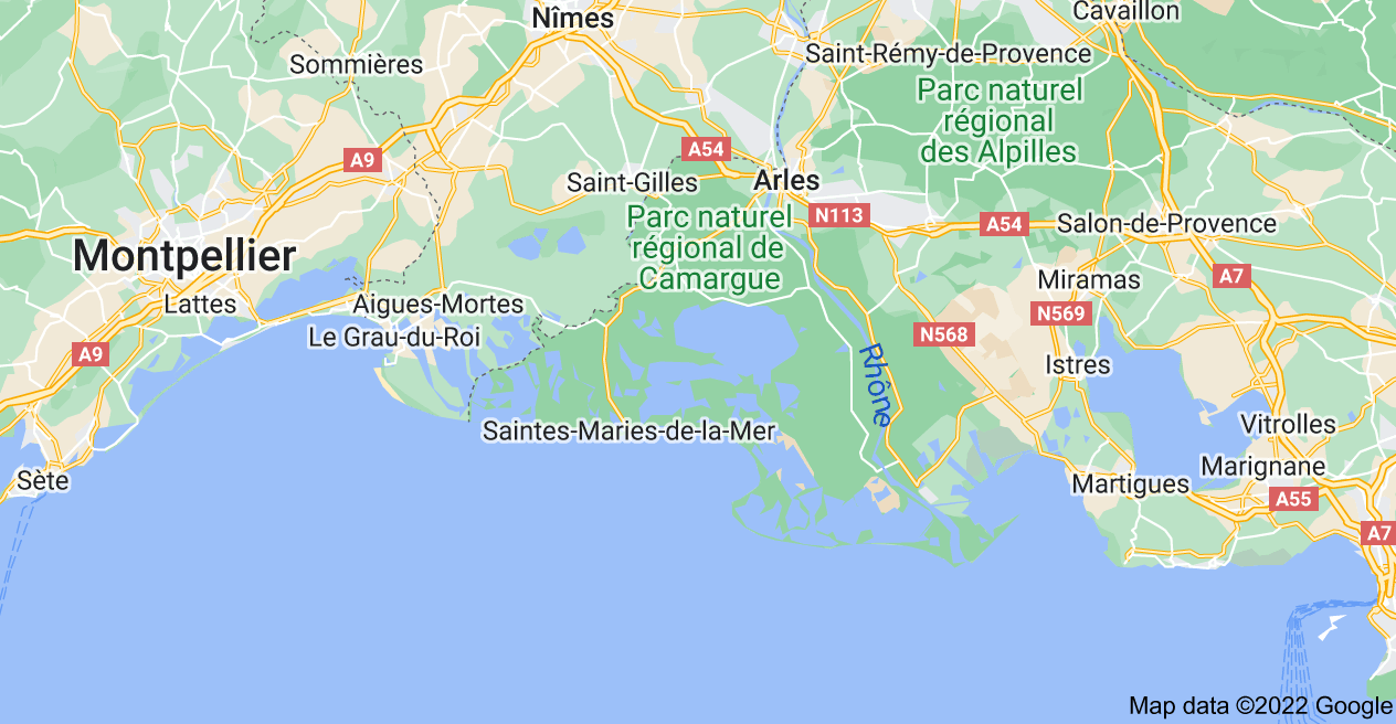 Map of Camargue, France