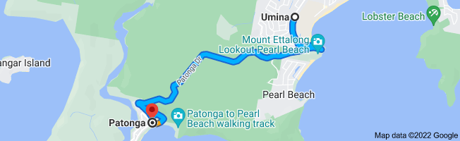 Map from Umina, Umina Beach NSW 2257 to Patonga, New South Wales 2256